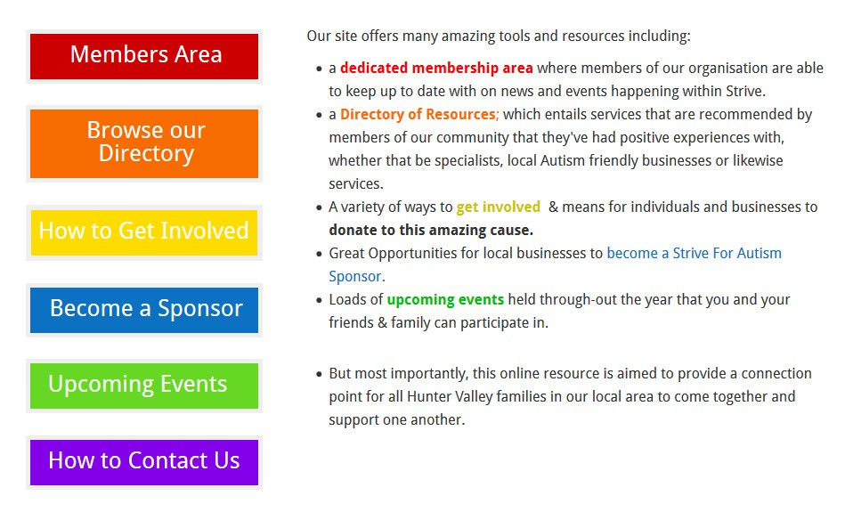Strive for Autism Website Hunter Valley Features