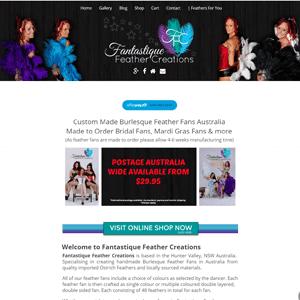 Fantastique Feather Creations - Bursleque Feather Fans Australia | Web Design Cessnock