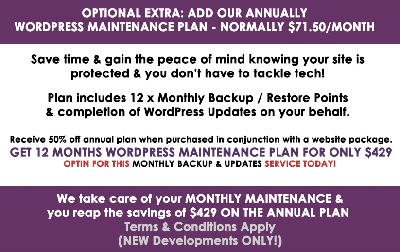 Annual WordPress Backup & Maintenance Plans