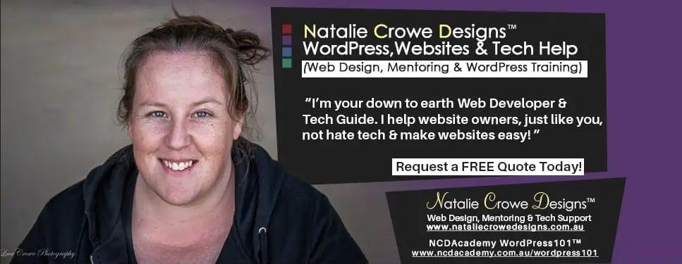 Web Designer Australia - Natalie Crowe Designs - WordPress Website Specialist